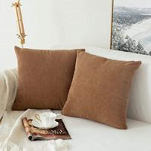 LEIXNDPLBO 1 ST Corduroy Korrels Zachte Soild Decoratieve Vierkant Sierkussenhoezen Set Kussenhoes voor Sofa Slaapkamer Auto, Chocolade, 45CMX45CM
