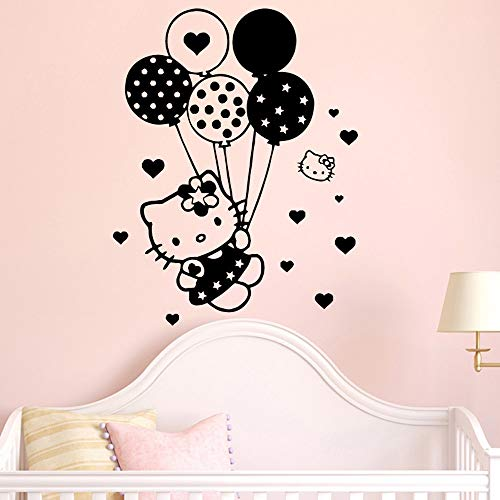 Leuke ballon kat versieren vinyl muurstickers voor meisjes prinses slaapkamer wanddecoratie decoratieve sticker cartoon stickers 87x123cm