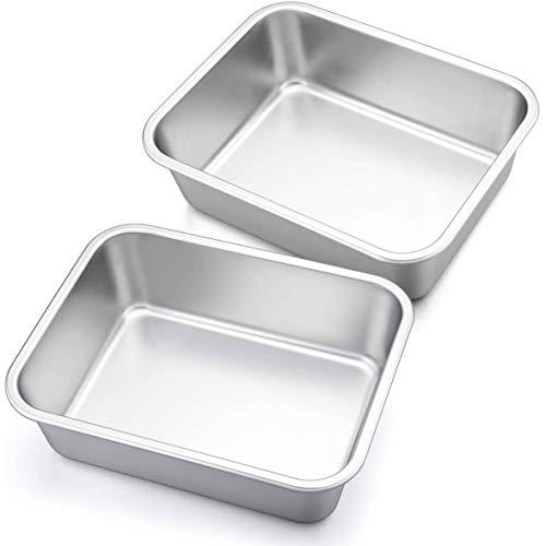 SNOWINSPRING Tiefer Teller Lasagne Pfannen Set, 2 Teilige Rechteckige Auflauf Formen Aus Edelstahl, L?Ngliches Metall Back Geschirr zum Braten S