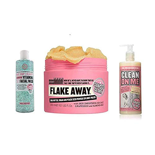 Soap and Glory Body Flake Away bundled with Face Soap and Clarity 3-in-1 and Clean on Me Clarifying Shower Gel