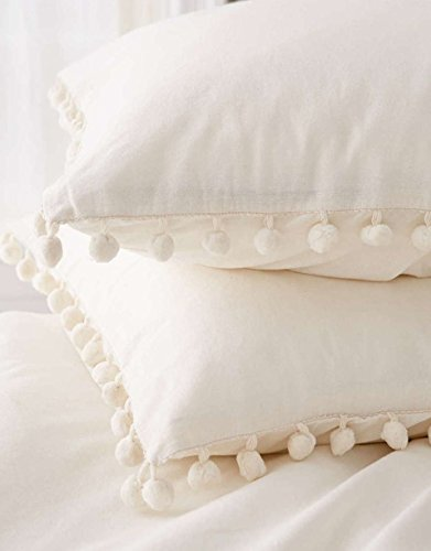 Affordable Flber White Pom Pom Tassel Pillow Sham Set Cotton Pillow Covers,Set of 2
