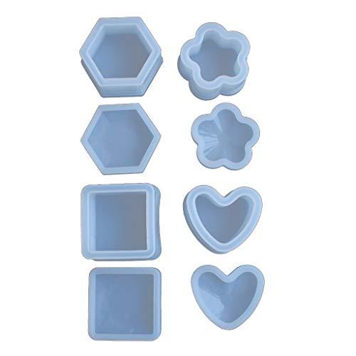 N/A. 4 moldes de resina con tapas, moldes de silicona para manualidades, almacenamiento de pendientes, anillos, monedas, llaves, macetas, ceniceros, bolígrafos y portavelas