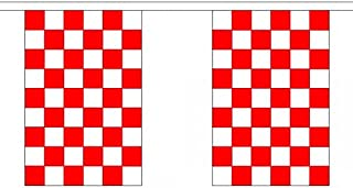 1000 Flags Red And White Check Chequered Polyester Flag Bunting 3M (10') Bunting With 10 Flags