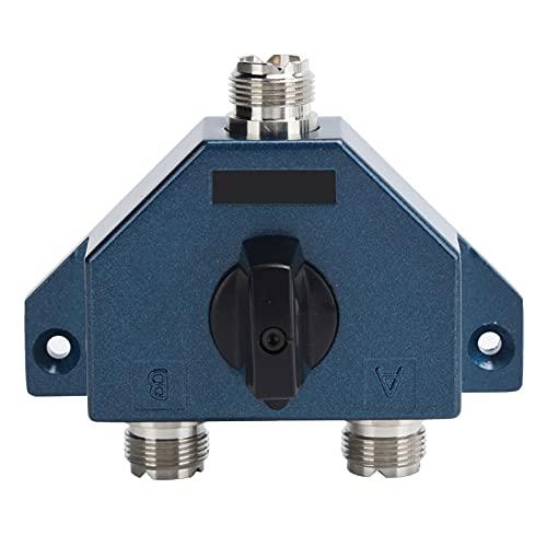 ASHATA Interruptor coaxial de 2 Posiciones, Interruptor de Antena de Radio de aleación de Zine, Conector convertidor Adaptador de 2 Posiciones para Antena CA ‑ 201