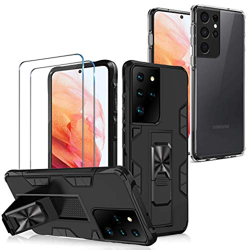 Paitech [2 Style Hülle Galaxy S21 Ultra 5G Hülle + Panzerglas Schutzfolie (2 Stück), Handyhülle mit Halter Ständer [Militärischer Schutz] und Durchsichtig Silikon TPU Schutzhülle für Samsung S21 Ultra