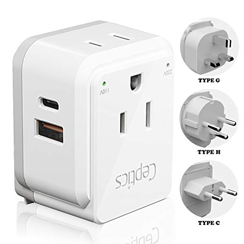 Israel, Jordan Power Plug Adapter Travel Ceptics, Safe Dual USB & USB-C 3.1A -2 USA Socket -Compact & Powerful - Use in Jerusalem, Palestine, UAE - Includes Type H, Type C, Type G Swadapt Attachments