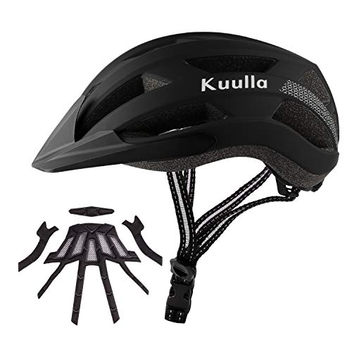 Kuulla Adult Bike Helmet Adjustable Bicycle Helmet Lightweight Mountain Road Cycling Helmet with Replacement Pads for Women and Men CPSC Certified (Matte Black, M(21.6-22.8 in/55-58cm))