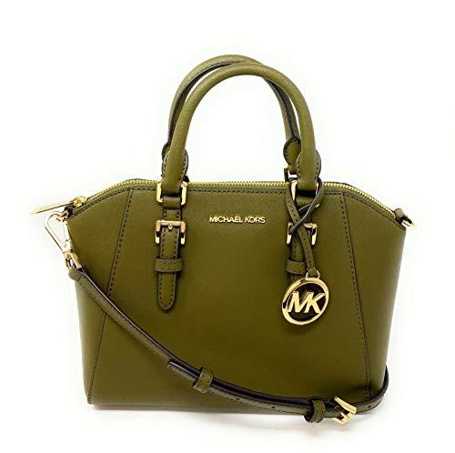 Michael Kors Medium Ciara Messenger Satchel Crossbody Leather Bag Handbag Duffle Green