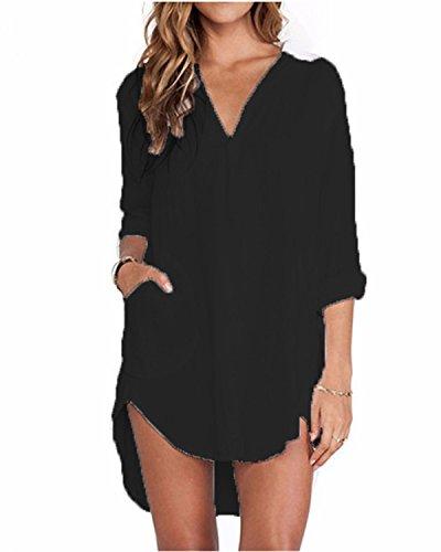 ZANZEA Bluse Damen Langarm Shirt Oberteile Casual V Ausschnitt Einfarbig Sexy Locker Tunika Tops Schwarz-362994 EU 46