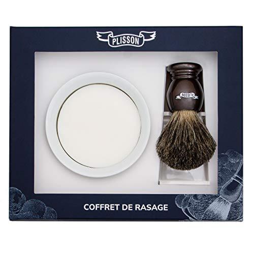 Plisson - Estuche de afeitado con brocha marrón nacarada de pelo natural gris, tamaño 12