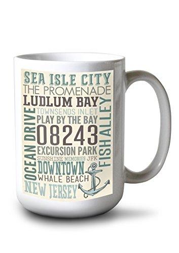 Lantern Press Sea Isle City, New Jersey - Townsend Inlet - Typography with Anchor (15oz White Ceramic Mug)