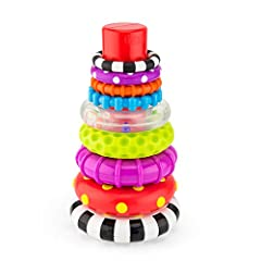 Straight post accepts different sized rings, strengthening hand-eye coordination Chunky rings make it easy for baby to grasp, strengthening fine motor skills Each ring features a different texture and weight; Textural variety is great for mouthing! C...
