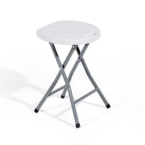 VERDELOOK Sgabello Pieghevole in Acciaio Verniciato e Seduta in plastica, Bianco