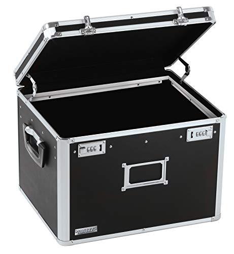 Vaultz Locking File Storage Chest Two-Handled LetterLegal File Storage 17 12 W x 14 D x 12 12 H Inches Black VZ01008