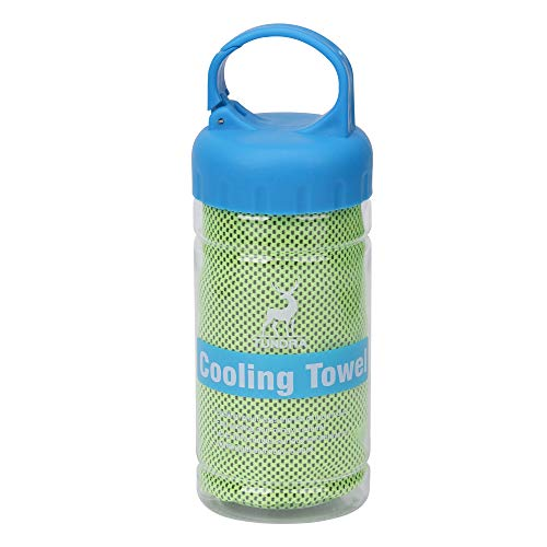 Barrageon 1 Pieza Toalla de Enfriamiento Fresca para Alivio de Calor Instantáneo para Deportes, Entrenamiento, Yoga, Camping, Bufanda Helada para Hombres, Mujeres, Niños y Mascotas Verde