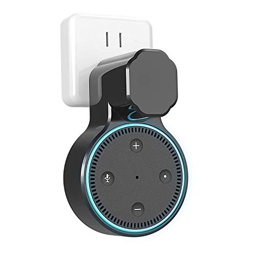 Echo Dot Wall Mount Outlet Holder for 2nd Generation, YIHUNION Hanger Bracket Stand Case for Home Voice Assistants, A Space Saving Solution for Smart Home Speakers Without Messy Wires Screws (Black)