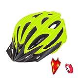 Creamon Cascos de Bicicleta ultraligeros con luz Trasera, Cascos de Bicicleta ultraligeros luz Trasera Seguridad Ajustable Ciclismo de Carretera Bicicleta de montaña Casco de Bicicleta Verde