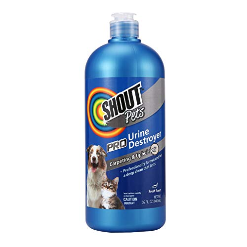 Shout Pets Pro Strength Urine remover Carpet Cleaner for Pets in Fresh Scent | Urine Remover Carpet Cleaner for Cat and Dog Urine Stains and Odors on Carpet & Upholstery, 32oz Bottle