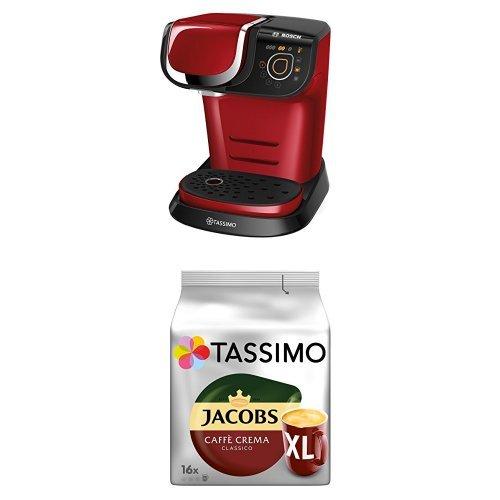 Bosch Tassimo My Way TAS6003 Multigetränkeautomat + Tassimo Jacobs Caffè Crema Classico XL, 5er Pack Kaffee T Discs