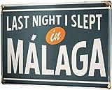 mengliangpu8190 Aluminum Sign, Retro Sign Vintage Decorative Tin Sign Metal Plate Poster Plaque Wanderlust City Malaga Spain 7' x 10' Metal Sign