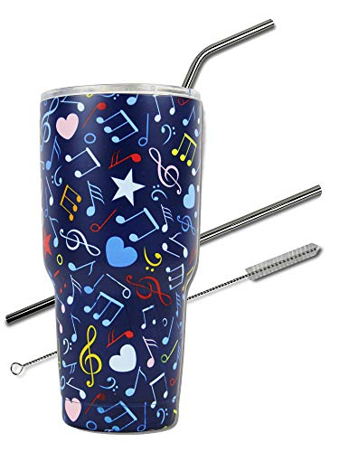 Music Note Tumbler Cup 30 oz with Lid, Straw and Cleaner, 30 oz Gift for Mom Teacher Piano Travel Coffee Mug, Stainless Steel, Vacuum Insulated, Keep Drinks Cold and Hot (Music Note, 30oz)