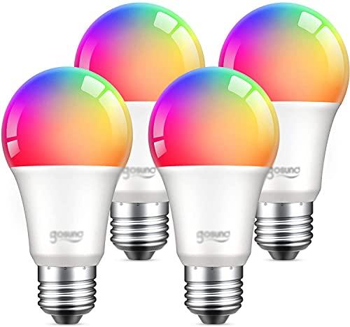Sxfcool Alexa Smart Light Bulbs, GOSUND 75W Equivalente E26 8W WiFi Bombilla LED A19 RGB Cambiando la Bombilla de luz Regulable, Trabajo con Google Home Amazon Echo, Solo WiFi de 2.4GHz