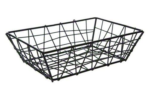 American Metalcraft BZZ95B Small Rectangular Metal Wire Zorro Bread Basket, 9' L x 6' W, Black