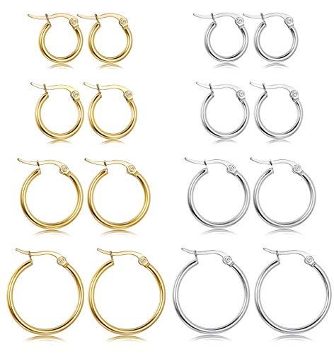 Milacolato Edelstahl Creolen Ohrringe Damen Huggie Ohrringe Hängend Creolen Modeschmuck Set