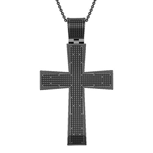 DazzlingRock Collection 14 quilates rodio chapado en oro blanco redonda Black Diamante negro