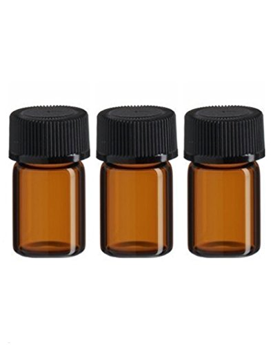 3 ml d'huile essentielle de 25 pcs Verre Ambre Bottletravel bouteilles et récipients avec orifice Réducteur et bouchon