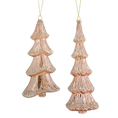 Melrose International 72863DS 10.5-11 in. Glass Tree Ornament44; Pink & Silver - Set of 6
