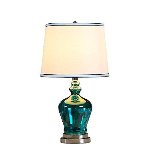 Lampara Mesilla de Noche Lámpara de mesa de cristal europea mediterránea, pantalla redonda de lámpara de lino, lámpara de sala de estudio, lámpara de dormitorio, E27, azul Lámpara de Escritorio