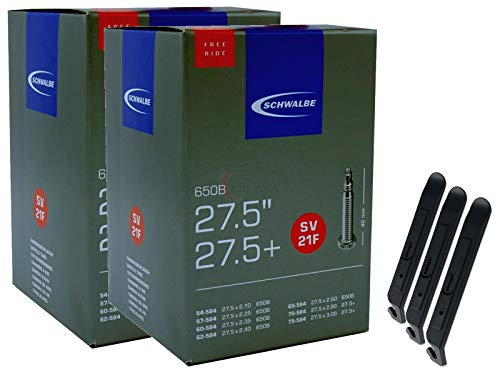 2 x Bicycle Inner Tubes 27.5 Inches 54-75/584 SV21F-40 Freeride 27.5+ Includes 3 x pneugo! Tyre Levers