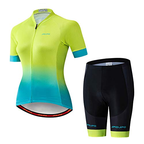 Radtrikot Set Frauen Fahrrad Trikot Shorts Anzug gepolsterte Damen MTB Top Bottom Shirts Road Mountain Fahrrad Kleidung Kleidung Uniform Sommer Rennbluse weiblich grün blau M.