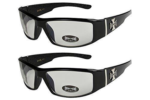 X-CRUZE Choppers - Pack de 2 gafas de sol motorista motero unisex hombre mujer moto bici lentes - 2x Modelo 14 (negro brillante/casi transparente) - Modelo 14 + 14 -