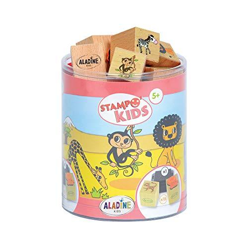 Aladine - Stampo Kids, Kit 15 Sellos, diseño Animales de la Selva (ALSE03316)