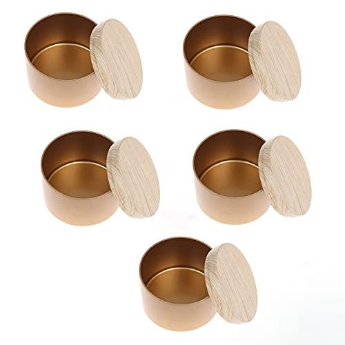 RUIYELE 5 tarros de almacenamiento vacíos para hacer velas, tapas de grano de madera, caja de té, contenedor de almacenamiento de maquillaje para Salve Crafts, especias, caramelos, regalo de té