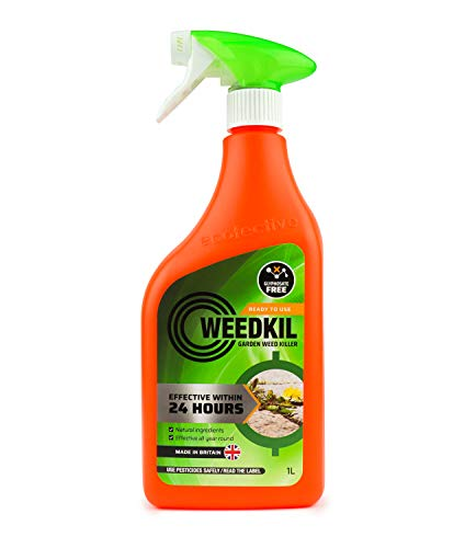 WeedKil Glyphosate Free Weed Killer 1 Litre - Fast Acting Organic, Natural Ingredients | Effective Within 24 Hours, All Year Round | Ready To Use Spray Bottle