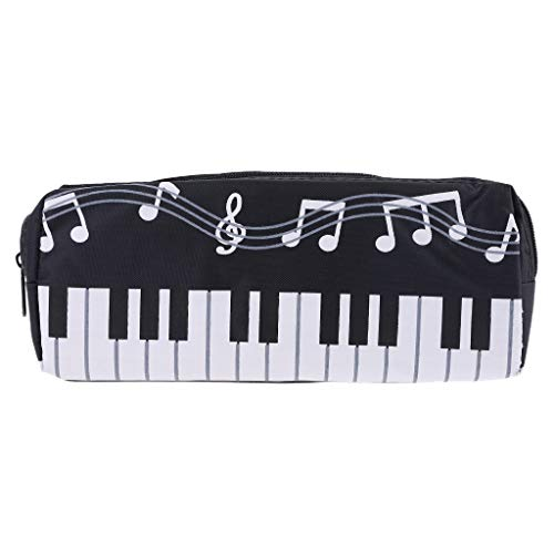 HUIJUAN Music Notes Piano Keyboard Pencil Case Large Capacity Pen Bags Stationery Office