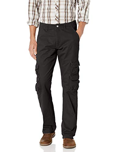 Wrangler Authentics Men's Premium Relaxed Fit Straight Leg Cargo Pant, Black, 36W X 30L