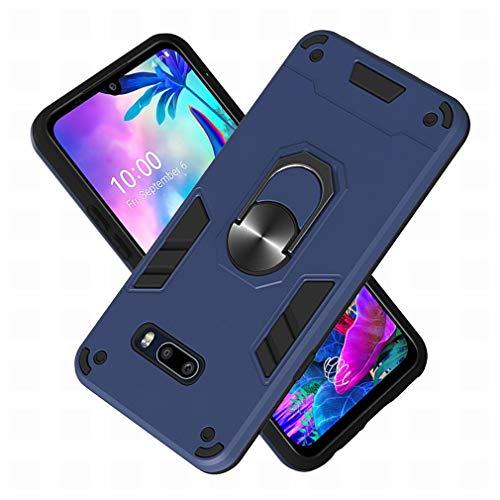 LEMORRY Handyhülle LG G8X ThinQ Schale Tasche, mit 2in1 Ring-Ständer und Autohalter, Weiche Silikon Harte PC-Schale Schutzhülle Stoßfeste Slim Fit Hülle LG G8X ThinQ, Saphir