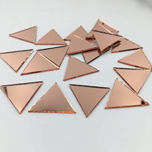 """1"""" triángulo forma espejo mosaico azulejos oro rosa color artesanía espejo a granel 100 piezas"""