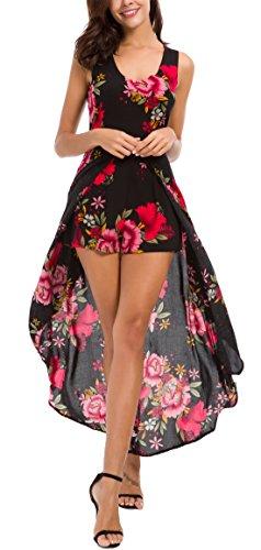 Kormei Womens Sleeveless Scoop Neck Floral Rayon Party Split Maxi Romper Dress M Black&Red
