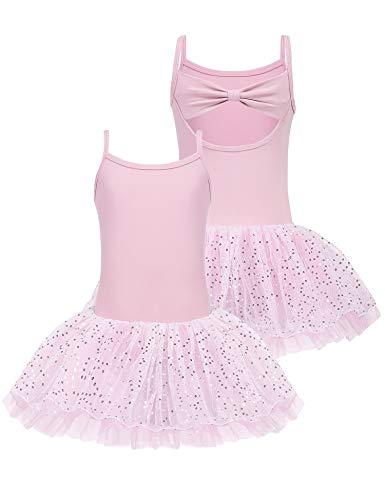 Bricnat Ballettkleid Mädchen Ärmellos Ballettkleidung Kinder Baumwolle mit Kleider Ballett Trikot Turnanzug für Mädchen Rosa 160 10-11 Jahre