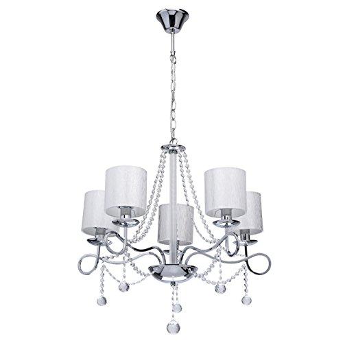 MW-Light 684010105 Lampadario da Soffitto Elegante in Metallo Cromato con Paralumi 5 x 40W E14 Escl