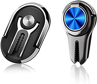 Multipurpose Phone Ring Holder Mobile Phone Bracket Holder Stand 360 Degree Rotation for Car Home(2pcs) (Black,Blue) (Blac...