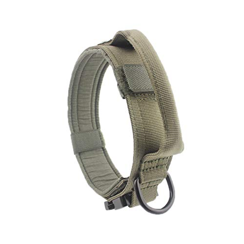 Vicyuns Tactical Dog Collar Adjustable & Durable Metal Buckle 1.5inch Width Army Grade Nylon Material Military Training Dog Collar (L, Ranger Green)