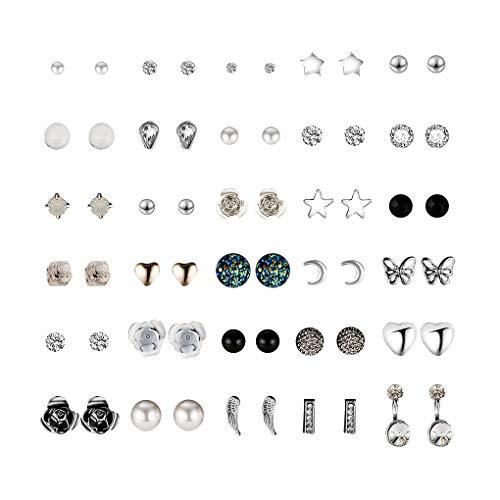 Floridivy 30 Pair Multiple Ear Studs Earrings set Women Set Assorted Crystal Rhinestone Women Piercing Earrings 2