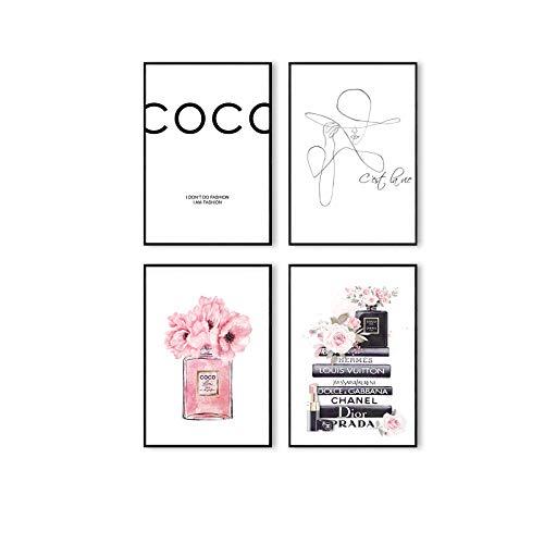 Postertech® Premium Poster Set | 4 Bilder als stilvolle Wanddeko | 4X DIN A4 | Abstrakte Kunst Rosen Coco moderne Bilder (Ohne Bilderrahmen)