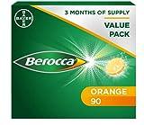 Berocca Comprimés effervescents de vitamine C, avec magnésium, vitamine B12 et complexe de vitamine B, goût orange, 2 paquets de 45 comprimés - 3 mois d'approvisionnement
